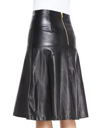 MILLY - Bell A-line Leather Skirt Black 0 - Lyst
