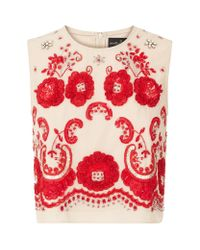 Needle & Thread | Embroidered Ribbon Roses Crop Top | Lyst