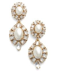 kate spade new york | White Faux Pearl Drop Earrings - Cream Multi | Lyst