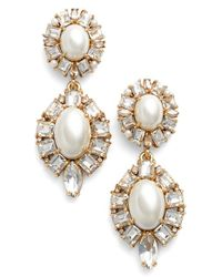 kate spade new york | Metallic Faux Pearl Drop Earrings - Cream Multi | Lyst