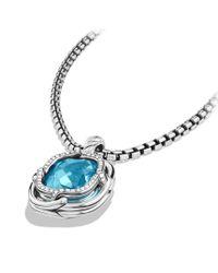 David Yurman - Labyrinth Small Pendant with Blue Topaz and Diamonds - Lyst