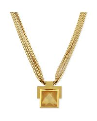 Vince Camuto | Metallic Gold Tone Stone Plaque and Multichain Pendant Necklace | Lyst