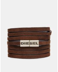 DIESEL - Brown Disesel Acavi Wrap Bracelet for Men - Lyst
