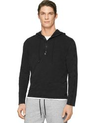 Calvin Klein Jeans | Black Garment Dye Mixed Media Hoodie for Men | Lyst