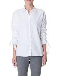 Tibi   White Oxford Dolman Tie Shirt   Lyst