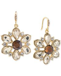 Carolee - Top Of The Rock Gold-tone Brown Crystal Flower Drop Earrings - Lyst