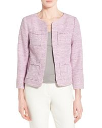 Cece by Cynthia Steffe - Natural Four-pocket Collarless Tweed Jacket - Lyst