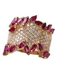 Effy | Metallic Diamond And Ruby 14k Rose Gold Ring, 1.41 Tcw | Lyst