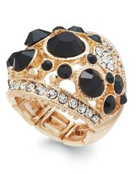 INC International Concepts | Black Gold-tone Pavé And Jet Stone Dome Stretch Ring | Lyst