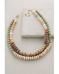 Anthropologie - Pink Layered Beadwork Necklace - Lyst