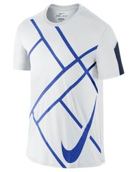 Nike | Blue Team Court Graphic Crew T-shirt for Men | Lyst