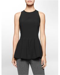 Calvin Klein | Black White Label Performance Pleated Zip Back Sleeveless Top | Lyst