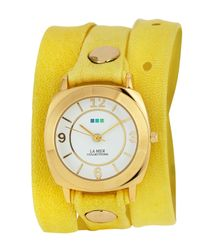 La Mer Collections | Yellow Odyssey Leather Wrap Watch | Lyst