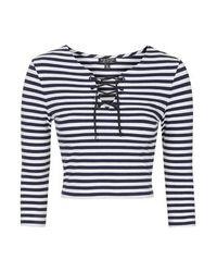 TOPSHOP - Blue Petite Tie Front Striped Top - Lyst