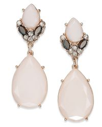 INC International Concepts | Inc International Concept Rose Gold-tone Pink Stone And Crystal Teardrop Earrings | Lyst
