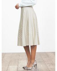 Banana Republic | Natural Br Monogram Zigzag Pleated Midi Skirt | Lyst