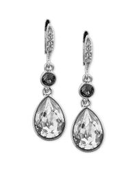 Givenchy - Metallic Clear and Black Swarovski Crystal Teardrop Earrings - Lyst
