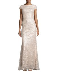 Badgley Mischka | Pink Metallic Lace Gown | Lyst