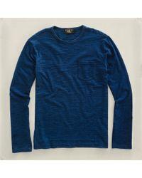 RRL | Blue Longsleeved Pocket Tshirt for Men | Lyst