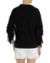 Each x Other - Black Shaman Leatherfringed Cottonjersey Sweatshirt - Lyst