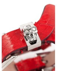 Alexander McQueen | Red Buckled Cuff | Lyst