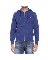 Fred Perry | Blue Sweater Sweetshirt Zip With Hoodie for Men | Lyst