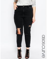 ASOS | Curve Thea Girlfriend Jean In Washed Black With Madness Rips | Lyst