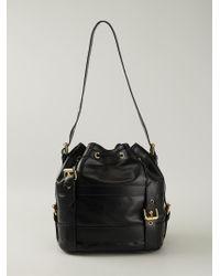 Moschino | Black Logo-Detail Calf-Leather Bucket Bag | Lyst