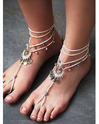 Free People | Metallic Womens Macrame Anklet Duo | Lyst