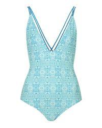 TOPSHOP - Green Boho Twist Swimsuit - Lyst