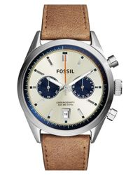 Fossil - Metallic 'del Rey' Chronograph Leather Strap Watch for Men - Lyst