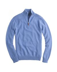 J.Crew - Blue Slim Cotton-Cashmere Half-Zip Sweater for Men - Lyst