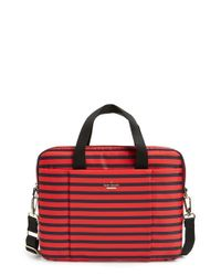 kate spade new york - Red 'watch Hill - Stripe' Nylon Laptop Bag - Lyst