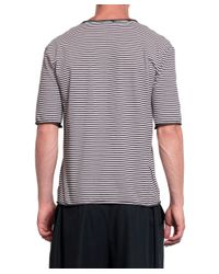 Laneus - Black Cotton Striped T-shirt for Men - Lyst