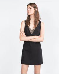 Zara | Black Lace Dress | Lyst