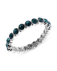 Nine West | Black Silver Tone Faceted Blue Stone Stretch Bracelet | Lyst