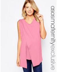 ASOS - Pink Maternity Nursing Crepe Wrap Top In Texture - Lyst