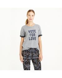 J.Crew - Gray Vintage Cotton Vote For Love T-shirt - Lyst