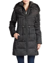 Betsey Johnson | Black Hooded Quilted Down Coat | Lyst