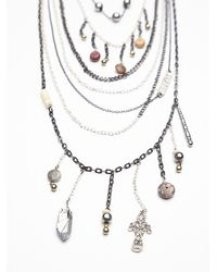 Free People - Black Multi Charm Rosary - Lyst