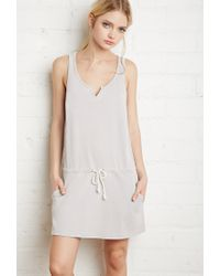 Forever 21 | Gray Drawstring Mineral Wash Dress | Lyst