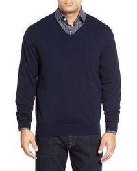 Peter Millar | Blue Tipped Cashmere Blend V-neck Sweater for Men | Lyst
