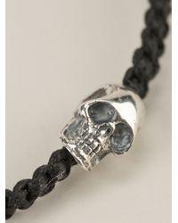 King Baby Studio - Black Woven Skull Charm Bracelet - Lyst