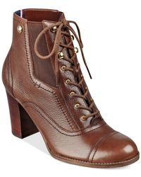 Tommy Hilfiger | Brown Felecia Lace-up Booties | Lyst