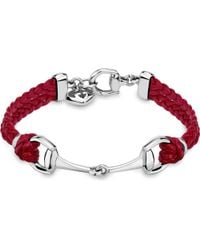 Gucci | Red Horsebit Leather Bracelet | Lyst