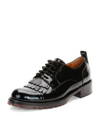 Valentino - Black Fringe-Front Patent Lace-Up Oxford Shoe - Lyst