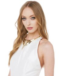AKIRA | Metallic Queen Beh Gold Clear Crystal Necklace | Lyst