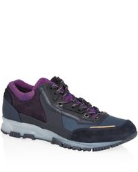 Lanvin - Blue Navy Running Lace Up Trainers - Lyst