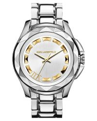 Karl Lagerfeld | Metallic '7' Faceted Bezel Bracelet Watch | Lyst