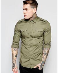 DIESEL | Shirt S-haul Slim Fit Military Poplin In Green for Men | Lyst